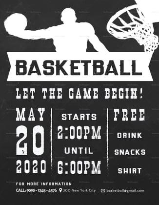 chalkboard basketball tournament flyer layout
