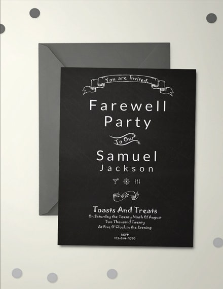 chalkboard farewell party invitation template
