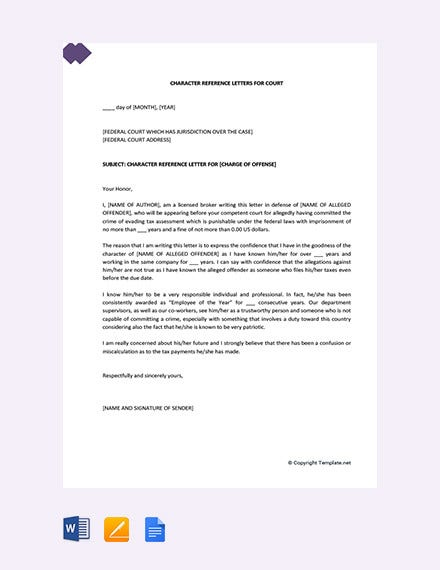 character reference letter for courts template