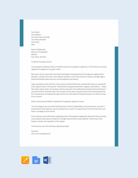 character reference letter for immigration template1