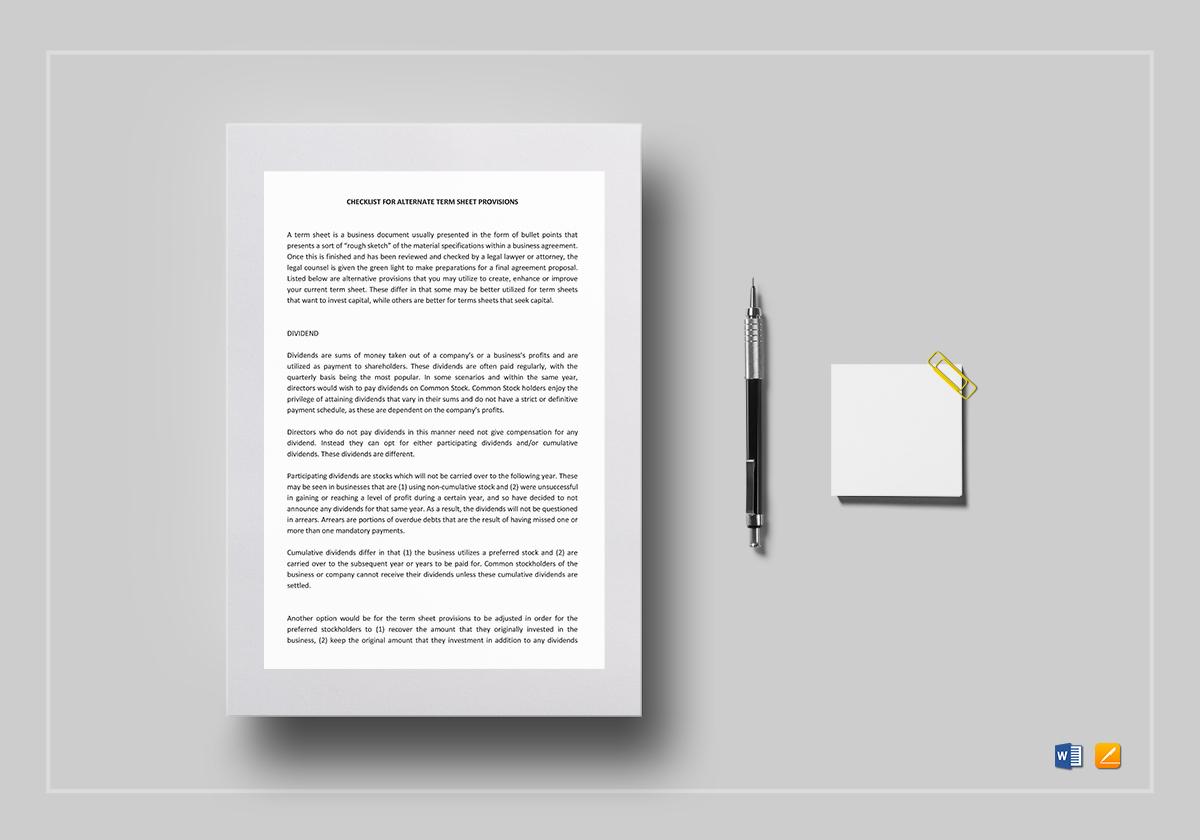 checklist alternate term sheet provision template