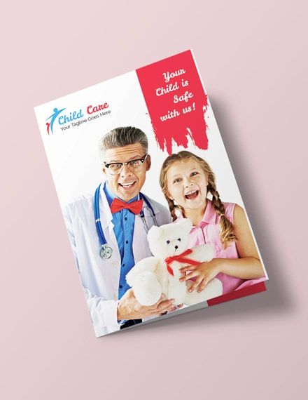 child care advertising brochure layout