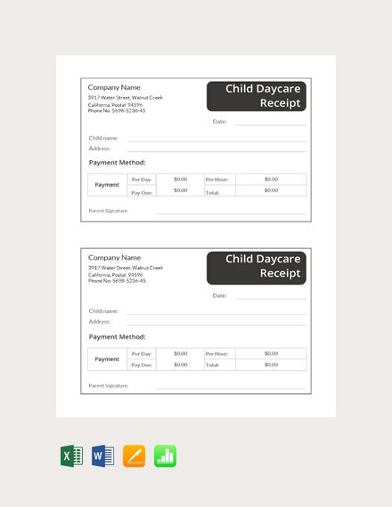 child daycare receipt