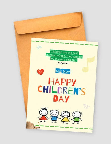childrens day greeting card psd template
