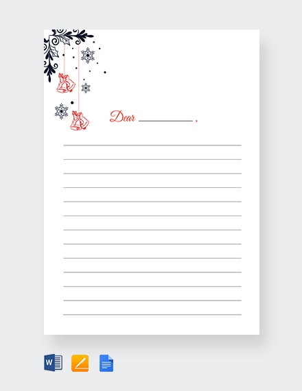 christmas bells writing paper lined template