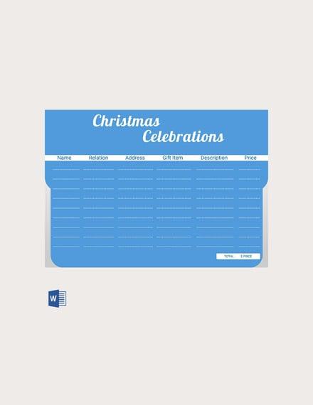 christmas celebrations gift list