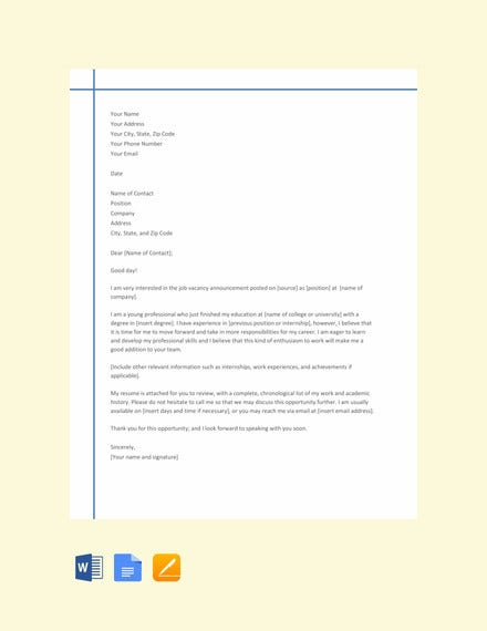 chronological resume cover letter template
