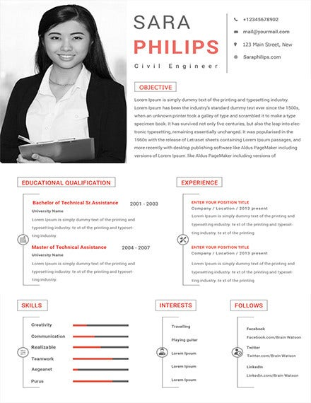 civil engineer sample resume template