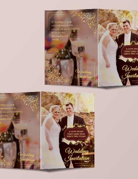 classic wedding invitation bifold brochure template