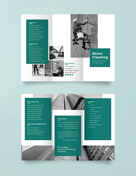 cleaning service green brochure sample