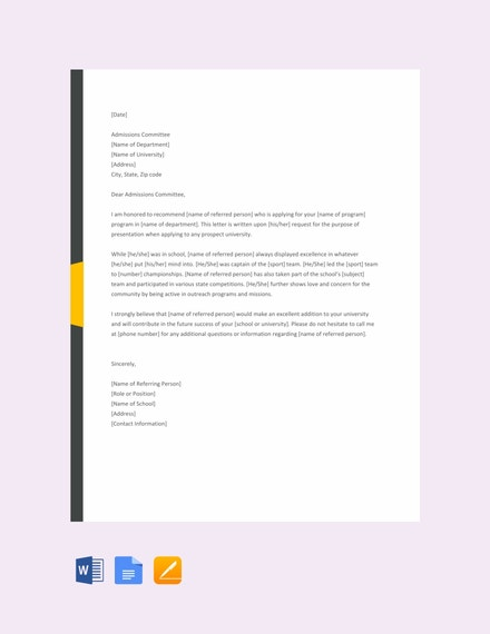 College Reference Letter Template