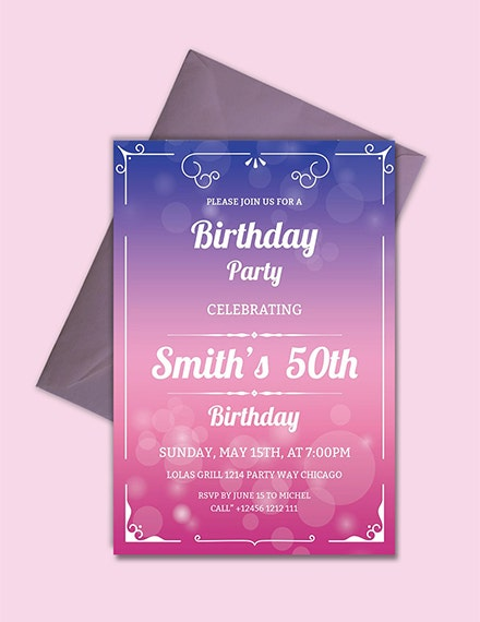 colorful adult birthday party invitation template