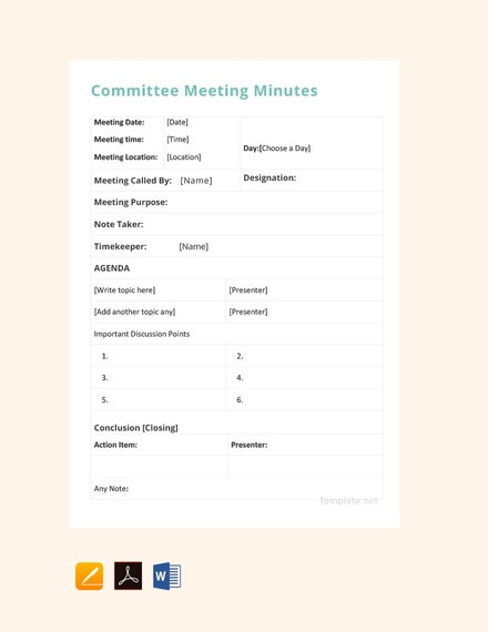 committee meeting minutes template