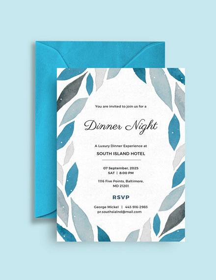 company dinner invitation card template