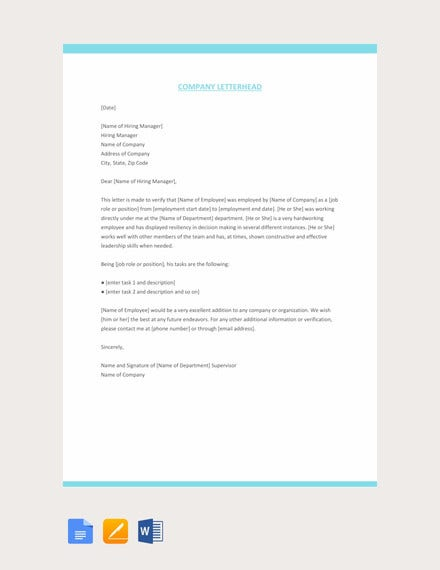 company experience letter