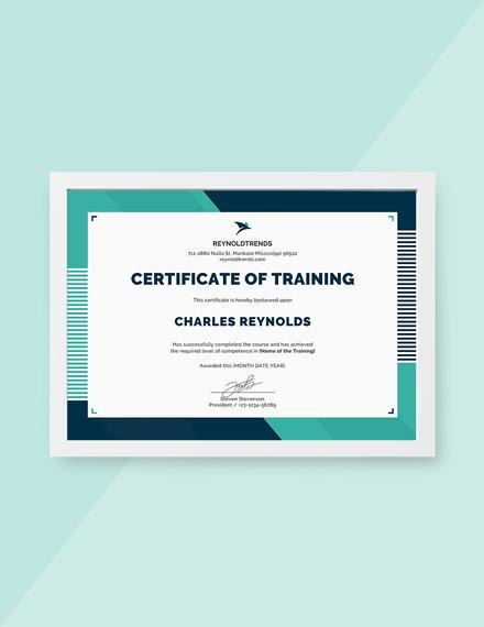 company training certificate