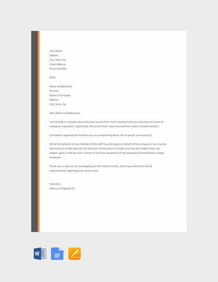 complaint letter for poor service template