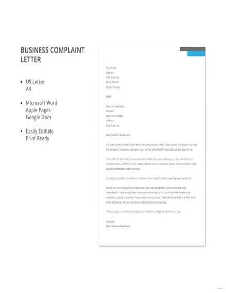 complaint letter