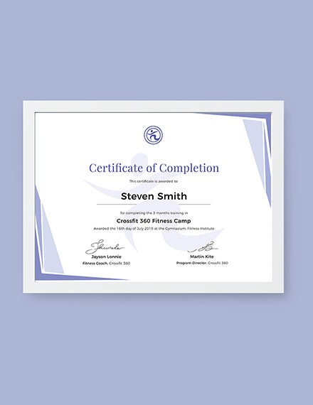 Completion of Training Certificate