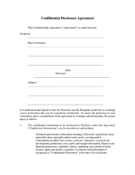 confidential disclosure agreement sample