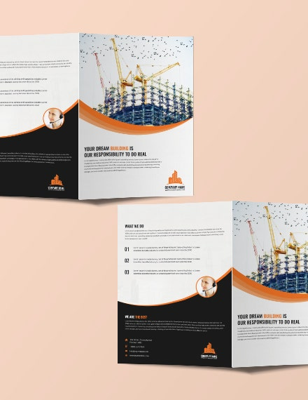 construction company bifold brochure layout