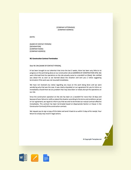 construction contract termination letter