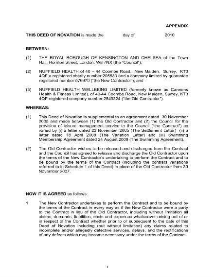 contractor council novation agreement