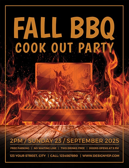 cook out bbq flyer layout