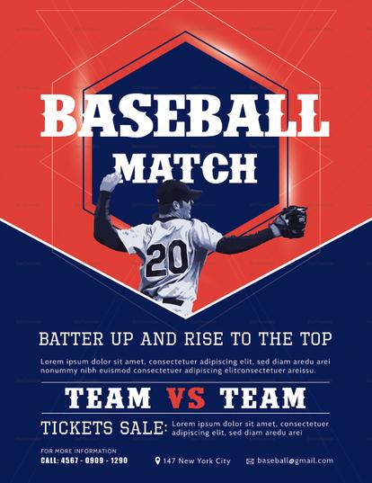 creative baseball match flyer design