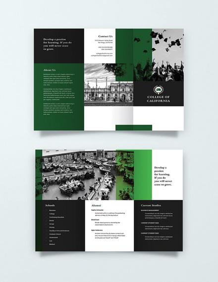 creative college green brochure layout