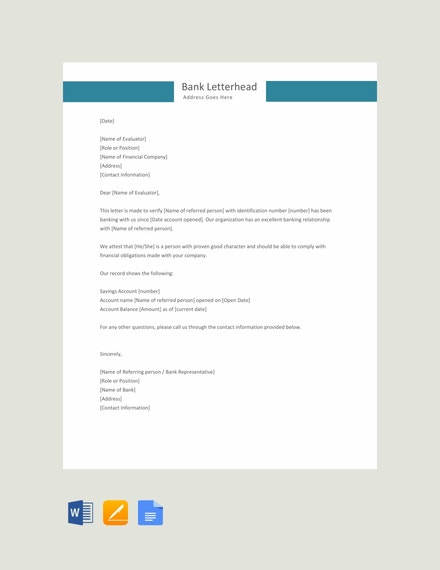 Credit Reference Letter Example