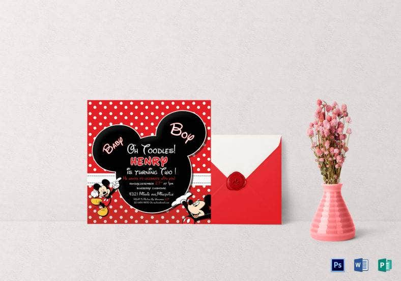 cute mickey mouse birthday invitation template 788x552
