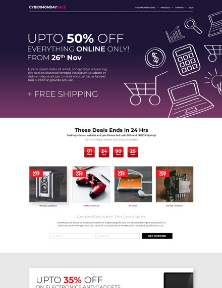 Cyber Monday HTML5 and CSS3 Landing Page