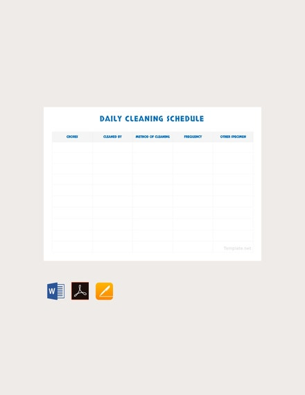 daily cleaning schedule template1