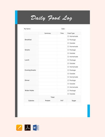 daily food log template