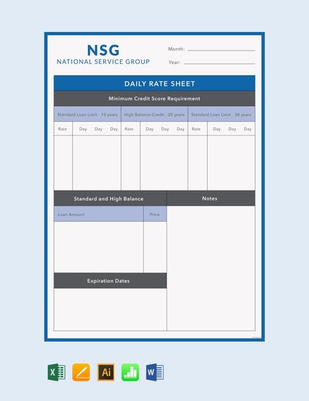 9 rate sheet templates  free  premium templates