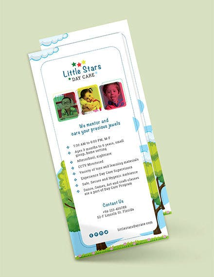 daycare rack card psd template