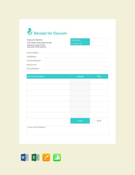 daycare service receipt