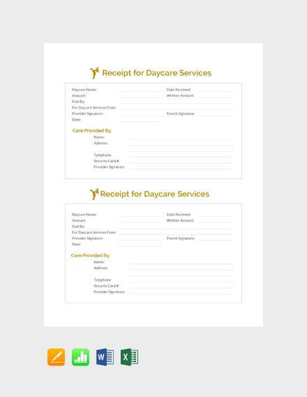 daycare services receipt