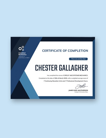 dealership completion certificate