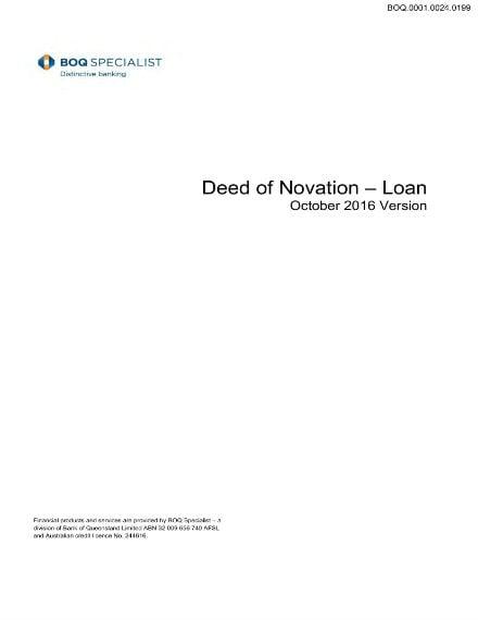 deed of novation for loans sample