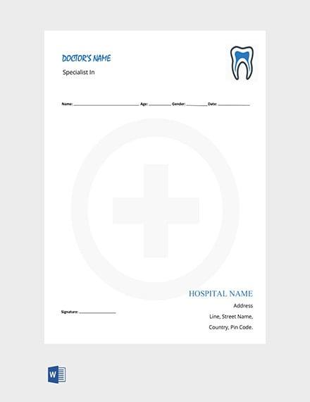 Dentist Doctors Prescription Template