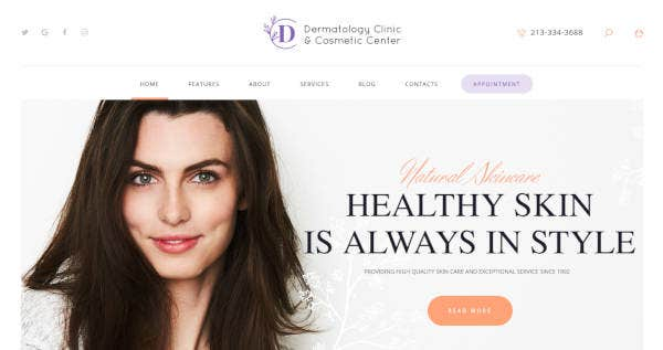 Dermatology Clinic Website Theme