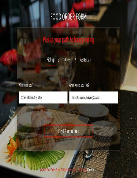 digital food order template