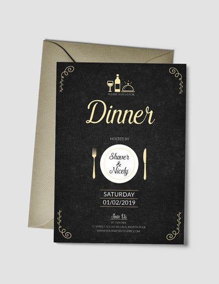 dinner invitation card psd template