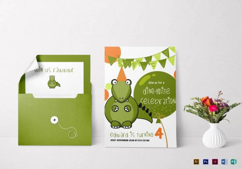 dinosaur birthday party invitation template 788x552