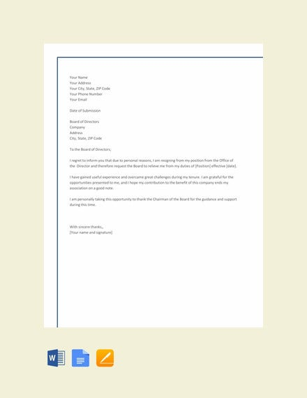 director resignation letter template