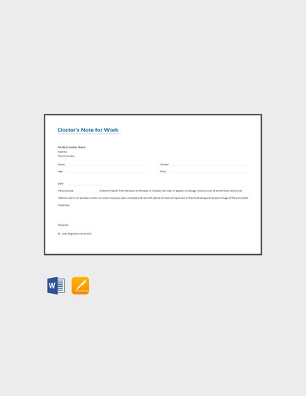doctors note for work template1
