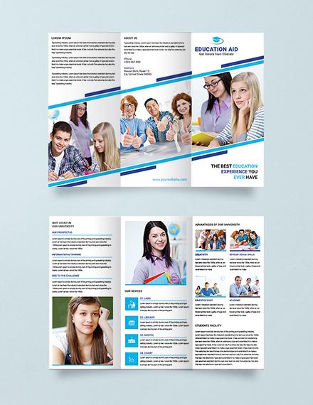 education multipurpose trifold brochure layout