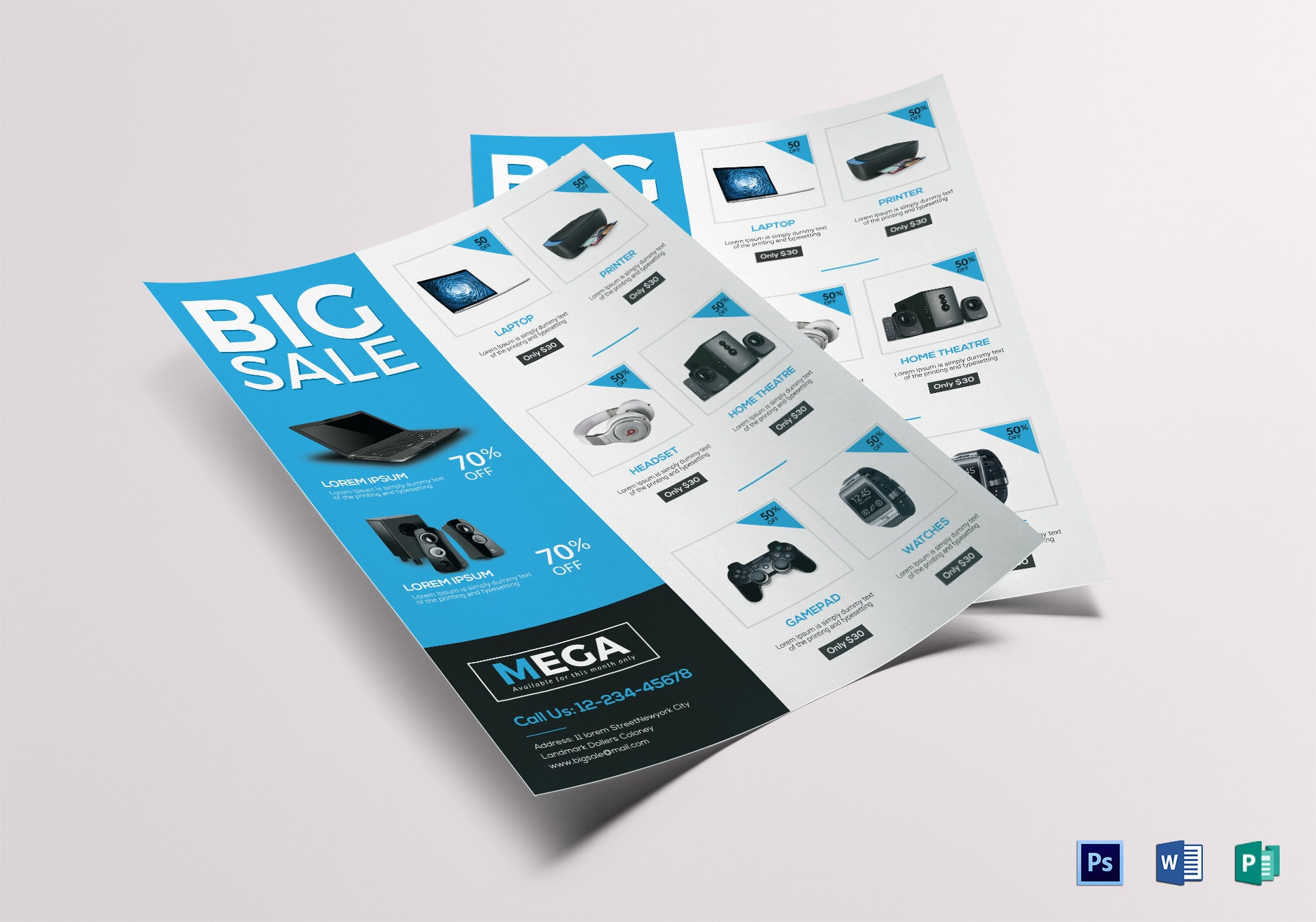 electronic big sale flyer template